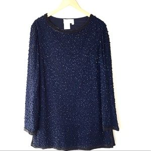 Adrianna Papell Sexy Navy Beaded Mini Tunic Dress